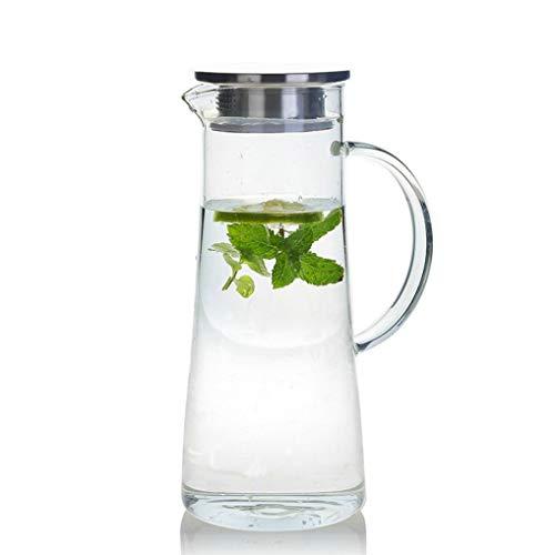 YWTT Jarra de Agua de 1,4 litros, Jarra de Vidrio con Tapa, Jarra de Agua Jarra de Vidrio, Jarra de Agua de Vidrio de borosilicato, Jarra de Jugo, Jarra de Agua para Jugo, Bebida de té