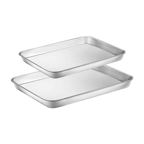 WEZVIX Stainless Steel Baking Sheet Tray Cookie Sheet Toaster Oven Pan Baking Pans 10 & 12 inches, Non Toxic & Healthy, Rust Free & Less Stick, Thick & Sturdy, Easy Clean & Dishwasher Safe