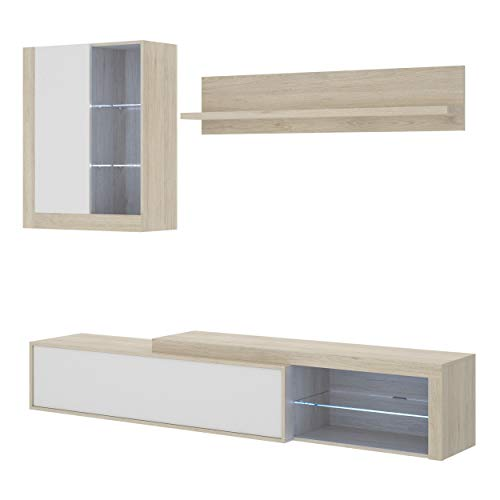 Mobelcenter - Mueble de Salón Moderno Koln - Módulo TV, Módulo Superior y Estante - Acabado en Color Natural y Blanco Brillo - Ancho: 200 cm x Fondo: 41 cm x Alto: 46 cm - (1205)