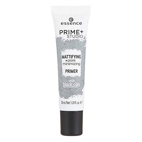 Essence prime+ studio mattifying + pore minimizing primer with Black Clay Inhalt: 30ml Primer Grundierung. für ein ebenmäßiges Hautbild mit schwarzer Tonerde.