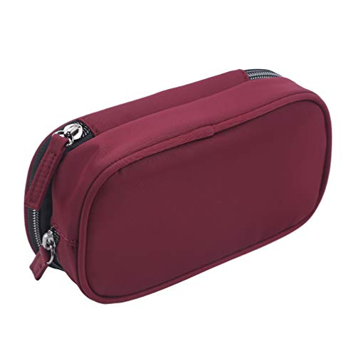 SUNSKYOO Makeup Bag Large Toiletry Makeup Pouch Multifunction Luggage Pouch for Women with Zipper Closure,Red Wine