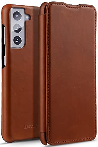 StilGut Funda para Samsung Galaxy S21 Funda Libro de Cuero con Tapa Lateral, Carcasa Tapa, Marrón Antiguo