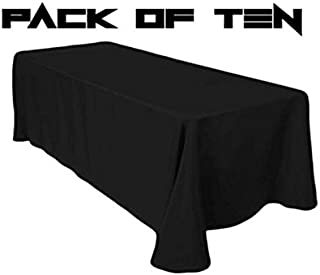 TC Tanu Collections Rectangle Tablecloth - 90 x 132 Inch - Black Rectangular Table Cloth for 6 Foot Table in Washable Polyester - Buffet Table, Parties, Holiday Dinner, Wedding & More (Pack of 10)