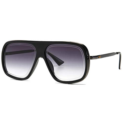 SHEEN KELLY Grote retro piloot zonnebril goud zwarte mannen vierkant montuur zonnebril mutiger pilotenzonnebril sport luxe gradiënten lens