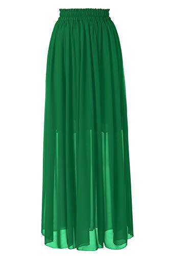 Topdress Women's Long Beach Skirt Elastic Waistband Chiffon Maxi Skirts Maternity Outfits Green XL