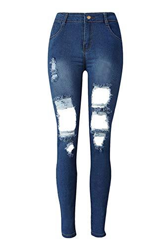 Sevozimda Frauen Hoch Wasit Jeans Dünn Rip Löcher Waschen Denim. Hosenbügler Blau L