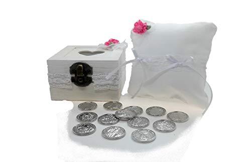 ARRAS de BODA BIBLICAS en color plata, con Caja y Cojin a juego terminación vintage...
