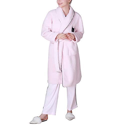 Albornoces Albornoces Ladies Ocio Albornoz Bordado Coral Fleece Fleece Pijamas Mujeres Otoño e Invierno Grueso Flannel Batas de casa Ligeras (Color : Rosado, Size : M)