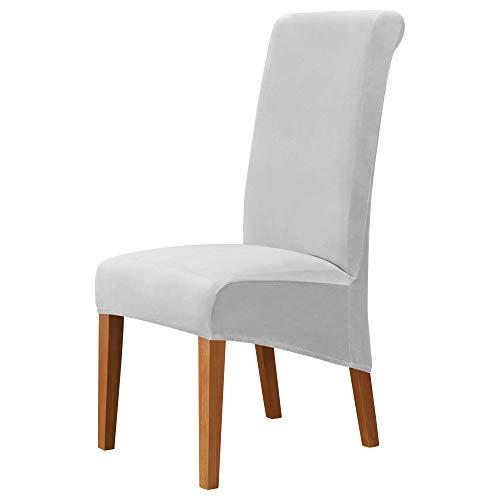 MILARAN Fundas para sillas grandes de Velvet para comedor, suaves y elásticas, para sillas grandes, lavables y extraíbles, 4 unidades, color gris claro