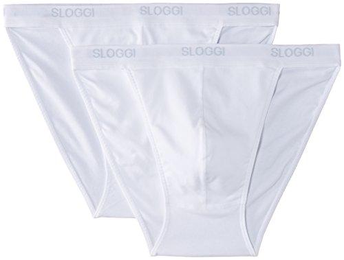 Sloggi, Herren Basic Tanga Brief - 2er Pack, Weiß, 3 EU (Herstellergröße: 30)