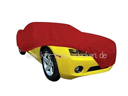 AMS Vollgarage Mikrokontur® Rot mit Spiegeltaschen für Chevrolet Camaro ab 2010, schützende Autoabdeckung mit Perfekter Passform, hochwertige Abdeckplane als praktische Auto-Vollgarage