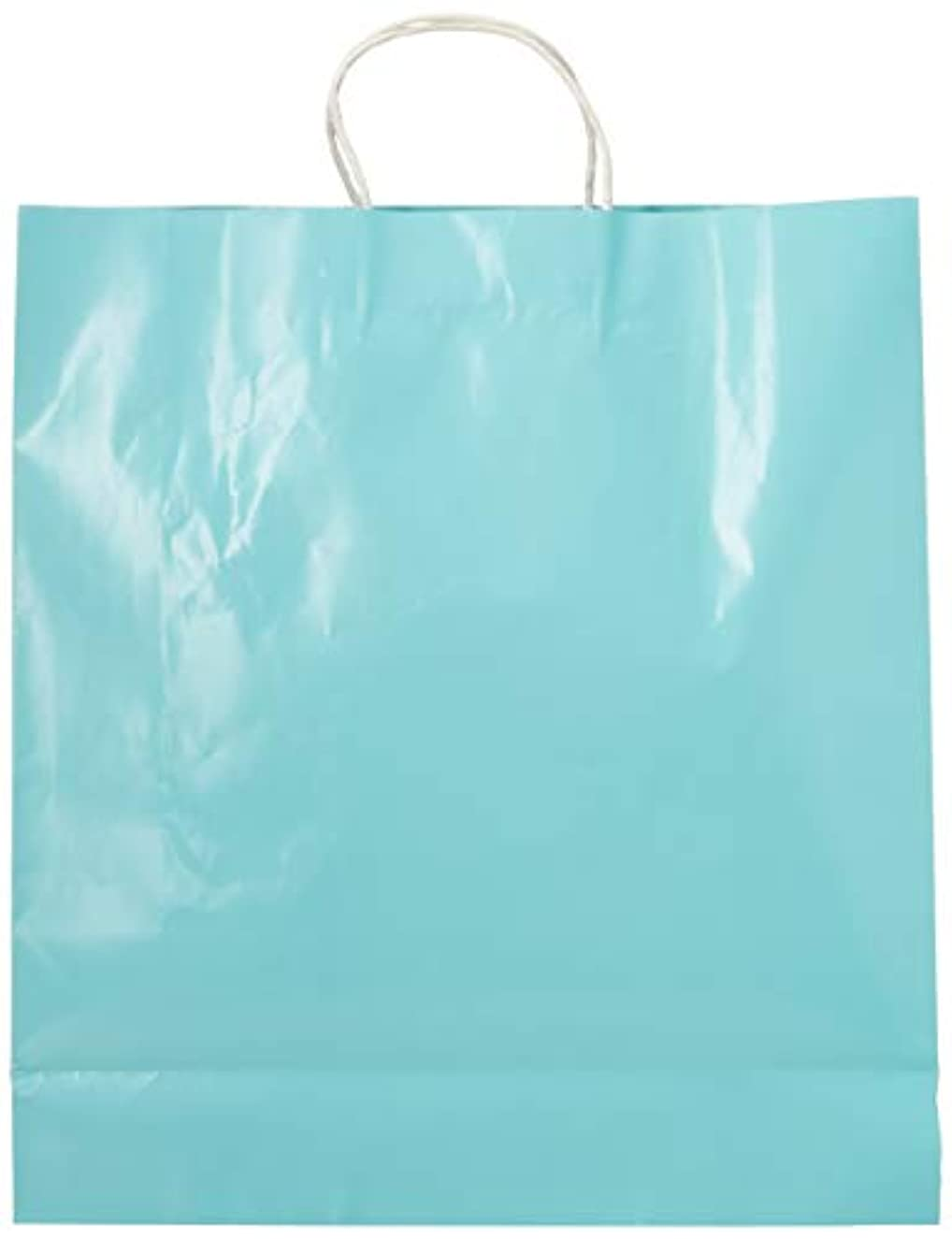 Cindus Clay Coated Gift Bag, 13 by 15-3/4 by 6-Inch, Baby Blue-12 per package