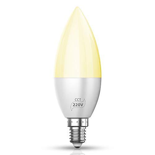 1er Packung Smart LED Lampe Bluetooth Mesh E14 Dimmable CCT LED Birne 4W 220V Farbige Leuchtmittel APP, Musik & Mic Innenbeleuchtung Gruppensteuerung, Timer Funktion