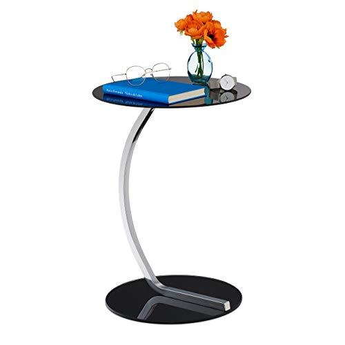 Relaxdays Beistelltisch, rund, für Wohnzimmer, modernes Design, Glas & Stahl, H x D: 55 x 40 cm, Couchtisch, schwarz, 1 Stück