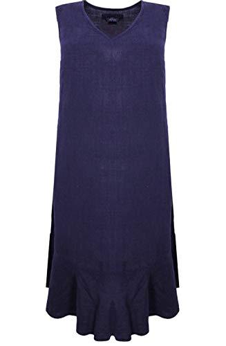 Backstage Clothing Kleid aus Leinen, Dunkelblau Gr. L, dunkelblau