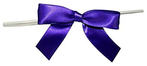 Reliant Ribbon 5171-28603-2X1 Satin Twist Tie Bows - Small Bows, 5/8 Inch X 100 Pieces, Purple Haze