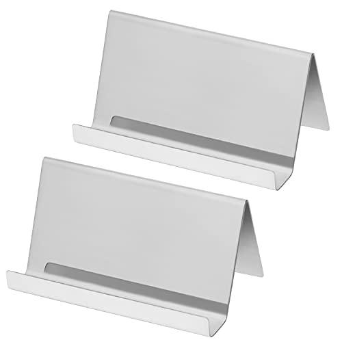 Belle Vous Porta Tarjetas de Visita Acero Inoxidable (Pack de 2) Puede Contener hasta 30 Tarjetas - Tarjetero Metalico Plateado - Tarjetero para Tarjetas Organizador Oficina, Escritorio o Encimera