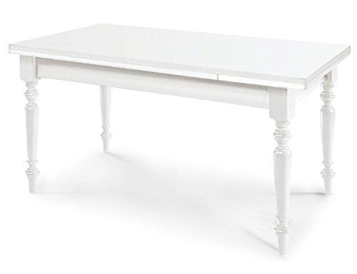 ARREDinITALY Tavolo Shabby Bianco Opaco 160/240 x 85 allungabile con Gamba tornita