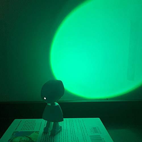 Wangyi Robot Sunset ProyeccióN Luces De Noche TransmisióN En Vivo Luz De Noche Led USB LáMpara De Pie De Arco Iris Luz De Ambiente De Dormitorio Ajustable-Verde 5.2x13cm
