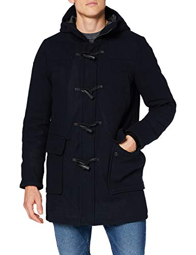 Superdry Wool Duffle Coat Abrigo de Lana, Azul Marino Oscuro, L para Hombre