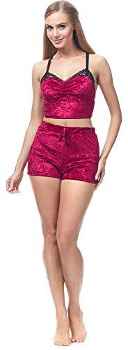 Merry Style Ensemble Short et T-shirt Haut Sexy Bustier Vêtement Été Femme MS-MS10-123 (Rouge, S)