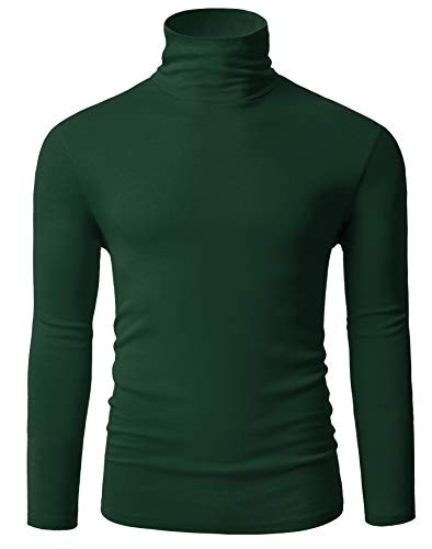 Fresca Mens Casual Basic Design Slim Fit Long Sleeve Elastic Knitted Pullover Turtleneck Thermal T-Shirts Wear with Sport Coat Leather Blazer Jacket Dark Green Large