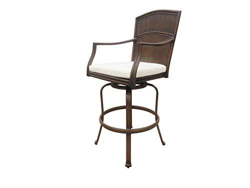 Hospitality Rattan Panama Jack PJO-1401-ATQ-SB Tiki Bar Swivel Barstool, Antique Brown