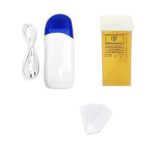 Wax Blanco Calentador Cera Tibia 1 calentador rollo on Cartucho + 1Cera+ 100papel color aleatorio (KIT1)
