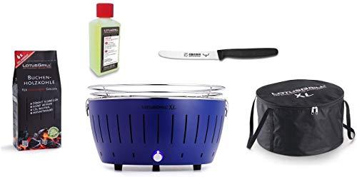 LotusGrill XL Starter-Set 1x XL Grill Tiefblau mit USB-Anschluß, 1x Buchenholzkohle 1kg, 1x Brennpaste 200ml, 1x Allzweckmesser, 1x Transport-Tragetasche XL - Der raucharme Holzkohlegrill