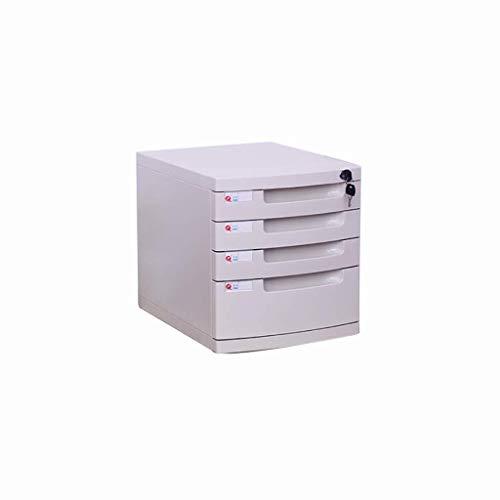 Ablagesysteme Aktenschränke, Desktop-Aufbewahrungsbox, Büroregale, mit Schloss, drei Etagen, vier Schubladen, H295xW394xD325mm, PP-Material - Farbe: Weiß (Größe: Four-Tier), Größe: Four-Tier Bürobedar