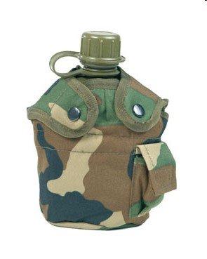 Mil-Tec Us veldfles van kunststof met tas inclusief aluminium beker Woodland, meerkleurig, 22 x 11,5 x 8,5 cm