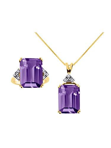 RYLOS Designer Emerald Cut Gemstone & Genuine Sparkling Diamond Ring & Necklace Matching Set in 14K Yellow Gold - 16X12MM Rectangular Color Stone