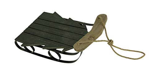 Things2Die4 Wooden Tree Shaped Decorative Old Fashioned Sled, Green
