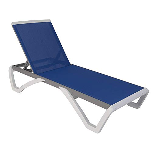 Kozyard Alan Full Flat Alumium and Polypropylene Resin Legs Patio Reclinging Adustable Chaise Lounge with Sunbathing Textilence, 5 Adjustable Position (Blue Textilence W/O Table)