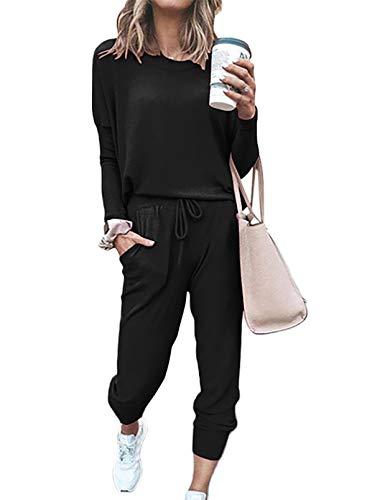 FOBEXISS - Tuta da donna in 2 pezzi con felpa calda + pantaloni lunghi, abbigliamento sportivo, tuta da corsa, allenamento, maglione Nero L