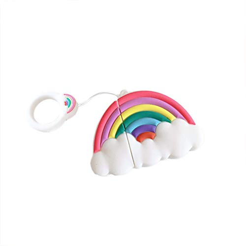 UKCOCO Compatible with Apple Airpods 1&2 Case Cover - Silicone 3D Cute Cartoon Wireless Earphone Cover Rainbow Earbuds Protective Shell with Hanging Keyring