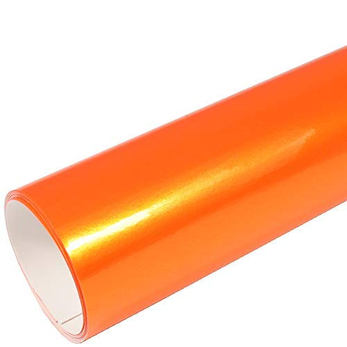 Rapid Teck® 9,86€/m² AutoFolie Serie 560MG ColorShift Gloss Orange Sparkling 2m x 1,52m Glanz Premium Car Wrapping Folie mit Luftkanal