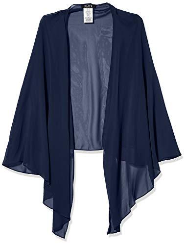 S.L. Fashions Women's Plus Size Solid Chiffon Cascade Crop Shrug, Navy, 3x/4x