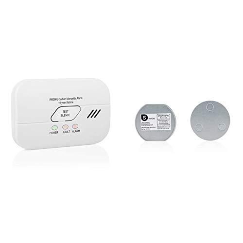 Smartwares 10 Jahres Co Melder/Kohlenmonoxid-Warnmelder, mit wechselbarer Batterie, RM386 & Magenthalter für Rauchmelder/6 cm Ø/Magnetbefestigung für Rauchmelder, RMAG60