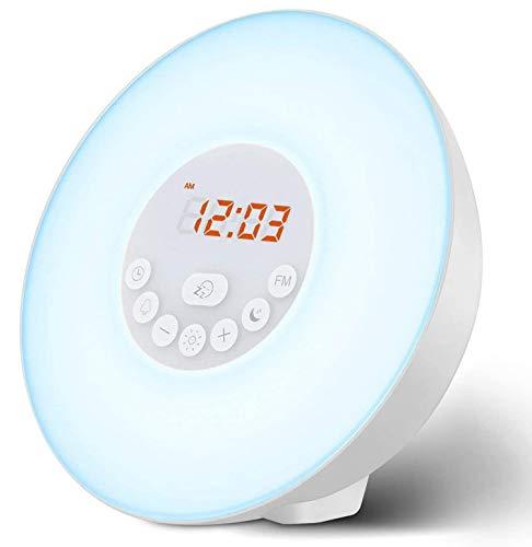 Hanchun Reloj luz de Despertador, diseño de Amanecer/Atardecer, Verde [Clase de eficiencia energética A]