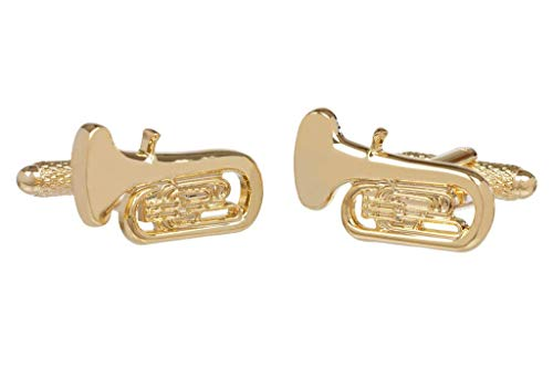 Gold Colour Tuba Design Cufflinks In Onyx Art Cufflink Box