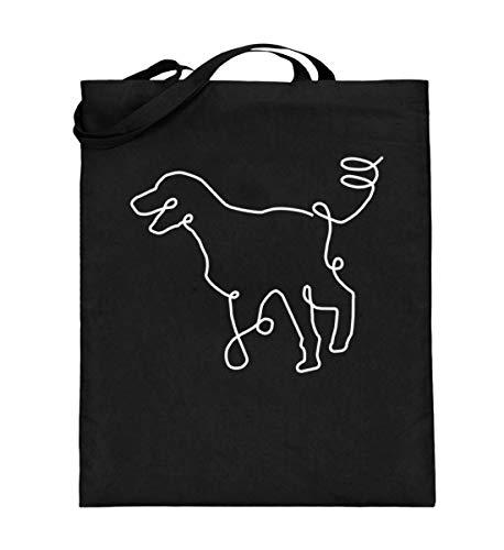 Chorchester Hunde Zeichnung für Welpen Fans - Jutebeutel (mit langen Henkeln) -38cm-42cm-Schwarz