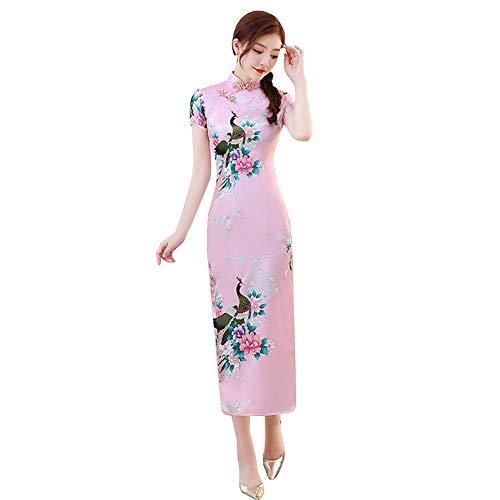 Janjunsi Abito da Donna in Stile Cinese Cheongsam Qipao, Plus Size Vestito Cheongsam Manica Corta da Cerimonia Nuziale Costume da Sera Qipao