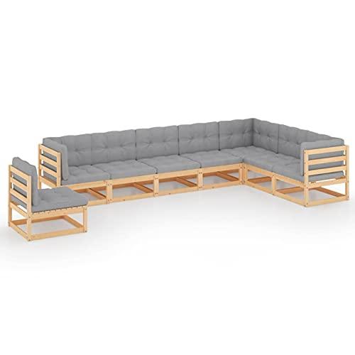 Fest-night Muebles de Jardín | Conjunto de Jardín | Juego de Sofá de Jardín 8 pzas de Madera con Cojines, Combinación Versátil Conjuntos de Sofas Exteriors