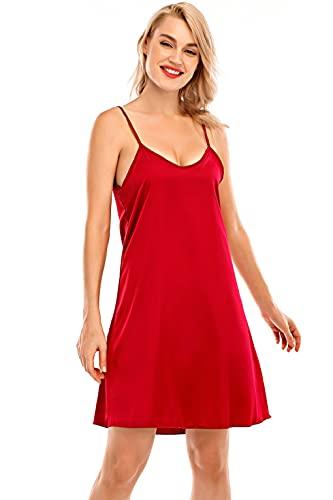 UMIPUBO Damen Nachthemden Satin Sexy Nachthemd V-Ausschnitt Sling Pyjama Weiches und Bequemes Nachthemd Sleepwear S-XXL(Rot,Large)