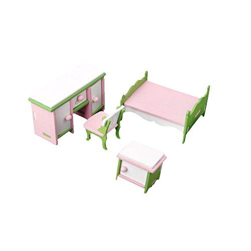 Amagogo 4PCS Muebles CASA de MUÑECAS Miniatura Dormitorio Conjunto Madera NIÑOS