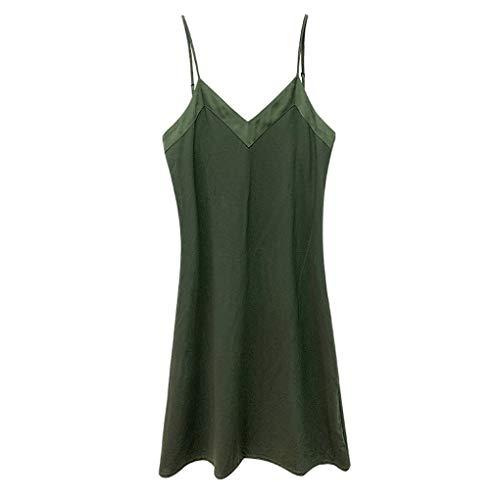 Pyjamas Frauen Einfache europäische und amerikanische Art-reizvolle dünne Nachthemd Slim Fit Cotton Strap Nachthemd (Farbe : Armeegrün, größe : S)