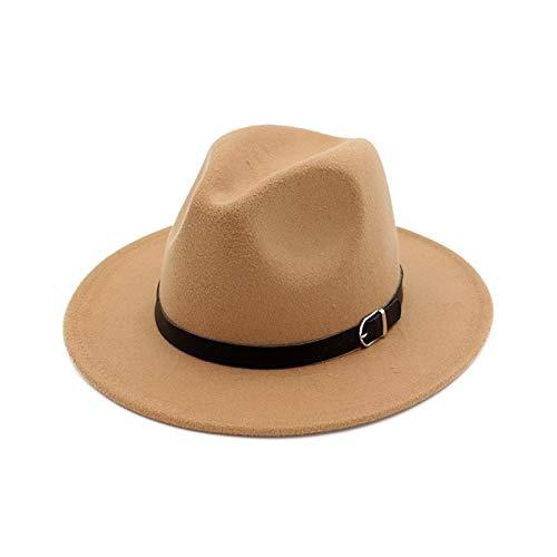 Gdcfgvdxx Hombres Sombreros Sombrero de Jazz for Mujer Sombrero de Mezcla de Lana Negro Sombrero Casual for Exteriores (Color : Camel)