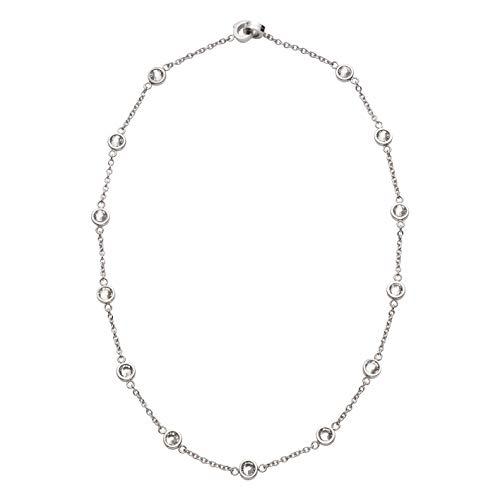 JEWELS BY LEONARDO DARLIN'S Damen-Halskette Essenza klein klar, Edelstahl mit Kristallsteinen und Mini-Clip, CLIP & MIX System, Länge 450 mm, 016630