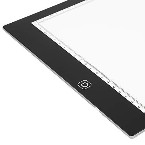 Tableta de dibujo LED, almohadilla de luz LED, luz blanca brillante con clip para documentos, cable USB, 10 piezas de papel de práctica para arte, trabajo fotográfico, diseño para tatuajes